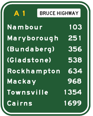 Bruce Highway - Approximate road distances (in kilometres) of towns from Brisbane along the highway