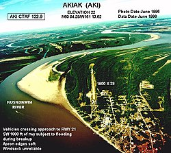 Aerial view of Akiak, 1996