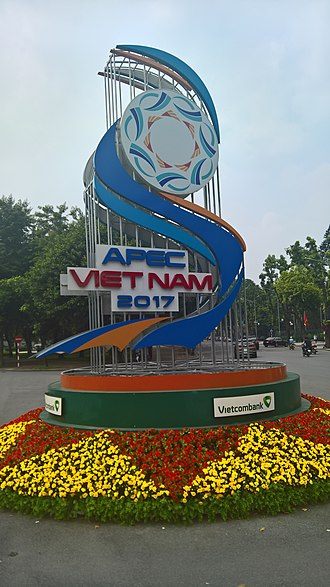 APEC Vietnam 2017 - Image: APEC 2017 Viet Nam sign outside of the state bank of Viet Nam
