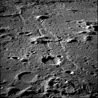 Gutenberg (crater) - Apollo 11 image of Rimae Gutenberg, facing southeast.