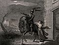 A knight bids farewell to a young lady. Engraving by Harding Wellcome V0042181.jpg