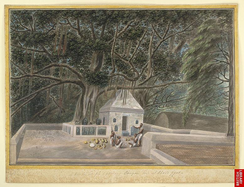 File:A small temple beneath the Bodhi tree, Bodh Gaya, c. 1810.jpg
