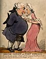 A tall lean woman having a discussion with an obese man. Col Wellcome V0010977.jpg