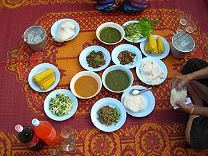 A breakfast in the Isaan region of Thailand, s...