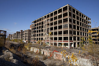 Poverty in the United States - Rust Belt ruins of former factory, Detroit, Michigan