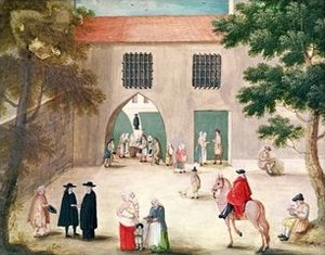 Social security - Distributing alms to the poor, abbey of Port-Royal des Champs c. 1710
