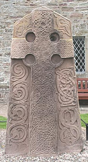 Christianity in Medieval Scotland - The Class II Kirkyard stone c. 800 AD from Aberlemno