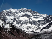 Glaciar and Aconcagua's summit in the background