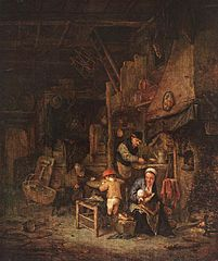Peasant Family by a Hearth