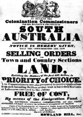 History of South Australia - 1835 advertisement