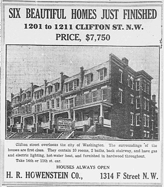 Columbia Heights (Washington, D.C.) - Advertisement for 1201 Clifton St. NW, Washington, DC – 1910