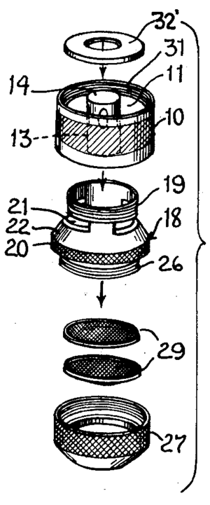 Faucet aerator - Aerator assembly diagram