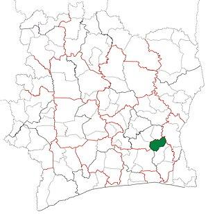 Akoupé Department - Image: Akoupé Department locator map Côte d'Ivoire