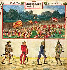 A miniature painting showing four brightly clothed men carrying a large banner which is painted with a complex battle scene
