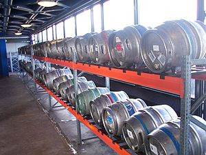 Stillage - A stillage, consisting of metal racking, at University of Warwick's annual student beer festival.