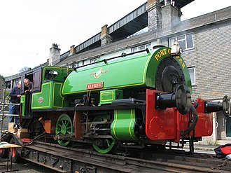 """Bagnall 0-4-0ST """"Alfred"""" and """"Judy"""" - Alfred on display by the Royal Albert Bridge"""