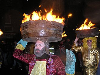 Allendale, Northumberland - Guisers carry lighted tar barrels during the New Year fire festival, a tradition dating back to 1858.