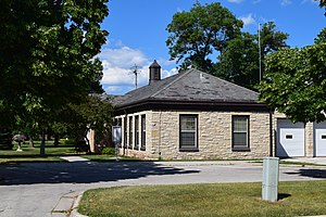 National Register of Historic Places listings in Brown County, Wisconsin - Image: Allouez Water Department and Town Hall from side