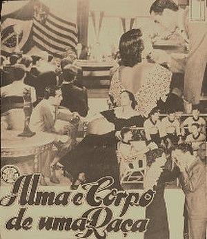 """Izidor Kürschner - Card to the movie """"Alma e Corpo de uma Raça"""" (1938) with Flamengo flag"""