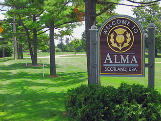 "Alma, Michigan - A sign welcoming visitors to ""Scotland, USA"" (Alma, Michigan)"