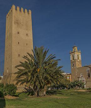 Almussafes, Torre Racef i Església de Sant Bartomeu, País Valencià.jpg