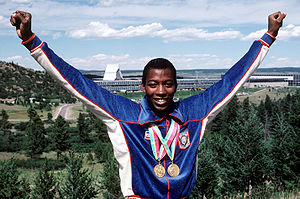 1984 Summer Olympics medal table - Image: Alonzo Babers with both gold medals 23rd Olympiad 1984
