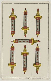 Aluette card deck - Grimaud - 1858-1890 - Seven of Swords.jpg