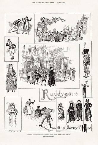 "Ruddigore - Amédée Forestier's illustration of scenes from ""Ruddygore"" in The Illustrated London News, before the name change."