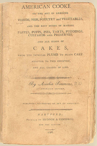 Vintage Cookbook >> File:American Cookery (1st Ed, 1796, cover).jpg - Wikimedia Commons