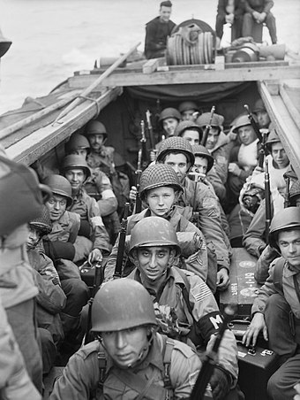 American troops on board a Landing Craft Assault heading into Oran, November 1942 American troops on board a landing craft heading for the beaches at Oran in Algeria during Operation 'Torch', November 1942. A12661.jpg