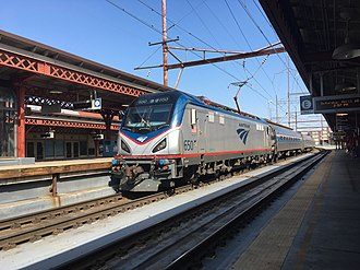 Wilmington station (Delaware) - Image: Amtrak ACS 64 650 SB at Wilmington Station