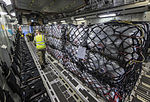 An RAF C-17 aircraft is bound for Nepal on 27 April 2015 loaded with humanitarian aid supplies for victims of the Nepal earthquake. (16669707664).jpg
