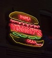 An illuminated Tommy's Burgers sign in Neon Alley, a public-art project in Pueblo, Colorado, devised by sign collector Joseph Koncilja LCCN2015632742.tif