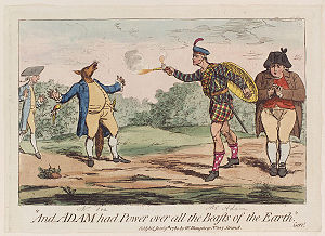 William Adam of Blair Adam - Caricature of William Adam, by James Gillray, depicting his dual with Charles James Fox