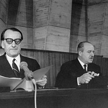 André Malraux (left) and Vittorino Veronese at UNESCO, salvage of Nubia monuments, International campaign.jpg
