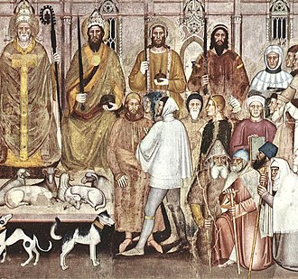 Savoyard crusade - A fresco in the Florentine style by Andrea di Bonaiuto in the Spanish Chapel of the Basilica of Santa Maria Novella shows Amadeus VI (fourth from left in the back row) as a crusader