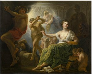 Ignorance - Hercules Protects Painting from Ignorance and Envy by Andries Cornelis Lens (1739–1822)