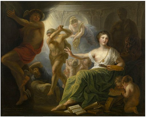 Andries Cornelis Lens - Hercules Protects Painting from Ignorance and Envy