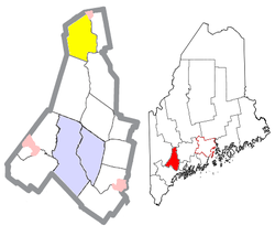 Location of Livermore (in yellow) in Androscoggin County and the state of Maine