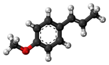Ball-and-stick model of the anethole molecule