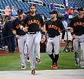 Angel Pagan and the Giants stretch before the NL Wild Card Game. (29544388803).jpg
