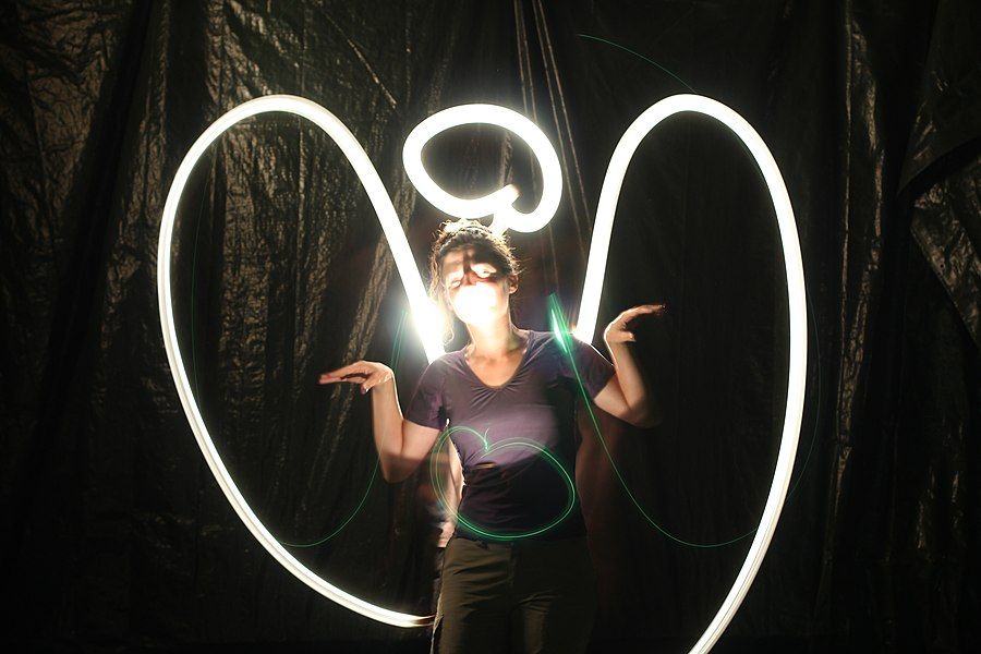 A light painting of angel. The angel is acting by Fanny Schertzer.