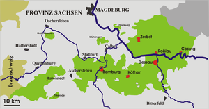 Free State of Anhalt - More detailed map of Anhalt.