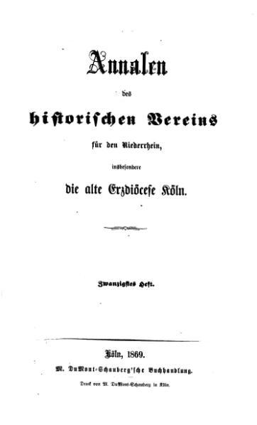File:Annalen des Historischen Vereins für den Niederrhein 20 (1869).djvu
