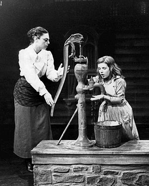 "The Miracle Worker - Photo of Anne Bancroft as Annie Sullivan and Patty Duke as Helen Keller in the broadway play The Miracle Worker: In this scene, Miss Sullivan tries to teach Helen the meaning of ""water""."