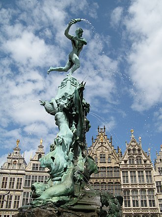 Druon Antigoon - The Brabo fountain, in Antwerp. Brabo throws the severed hand of Antigoon into the Scheldt. Sculpture by Jef Lambeaux (in 1887)