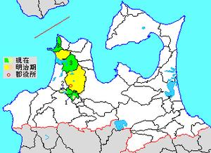 Kitatsugaru District, Aomori - Map showing original extent of Kitatsugaru District in Aomori Prefecture  green - current green/yellow - former extent in early Meiji period   1. - Itayanagi  2. – Tsuruta 3. - Nakadomari  4. – Sotogahama