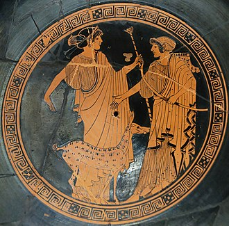 Artemis - Apollo (left) and Artemis (right). Brygos (potter, signed), Briseis Painter, Tondo of an Attic red-figure cup, ca. 470 BC, Louvre.