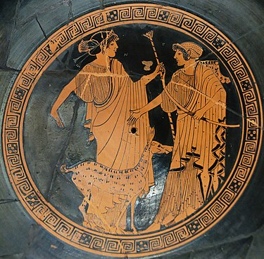 Apollo (left) and Artemis (right). Brygos (potter, signed), Briseis Painter, Tondo of an Attic red-figure cup, ca. 470 BCE, Louvre. Apollo Artemis Brygos Louvre G151.jpg
