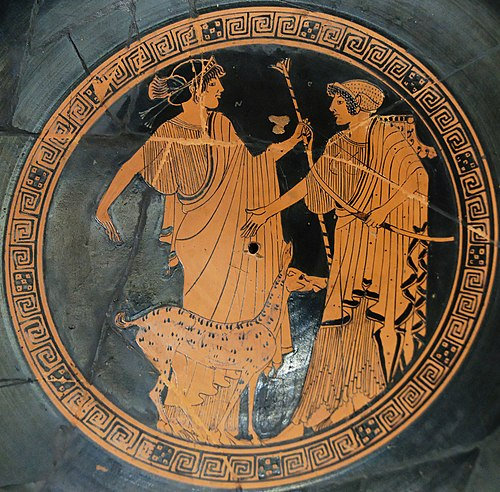 Apollo (left) and Artemis. Brygos (potter signed), tondo of an Attic red-figure cup c. 470 BC, Musee du Louvre. Apollo Artemis Brygos Louvre G151.jpg